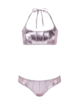 Lavender Metallic Corset Bikini