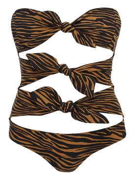 Brown zebra print one-piece