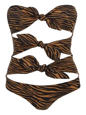 Brown zebra print one-piece