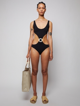 SCALLOP BUCKLE CUT-OUT MAILLOT SWIMSUIT, BLACK