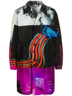 Multicolored Neon Lights Trench Coat