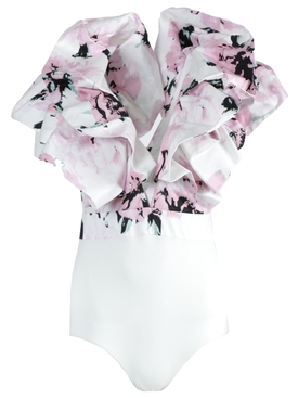 Pink and White Ruffle Bodysuit
