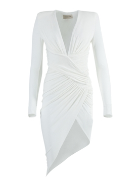 White Ruched Asymmetric Dress