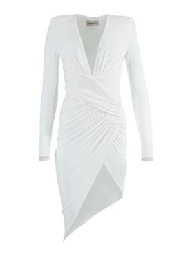 White Ruched Asymmetric Dress