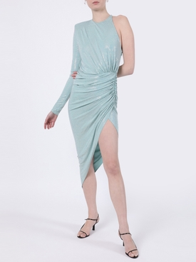 Mint Crystal Draped One-Shoulder Dress