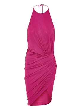 Fuchsia Embellished Halter Dress