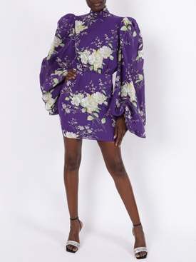 Purple Floral Mini Dress