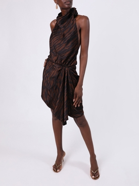 Brown Zebra-Print Mini Dress