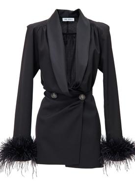 Black feathered cuff mini dress