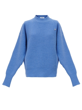 Blue ribbed wool sweater