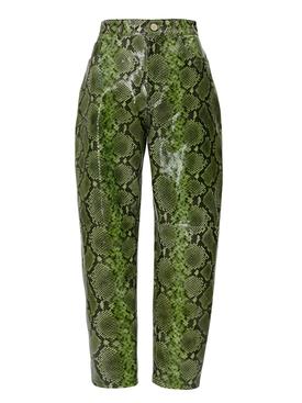 Green Snake Print Pants