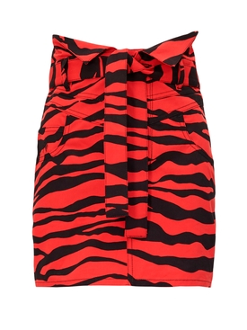 Red and black animal print skirt
