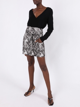 Snake-Print Mini Skirt