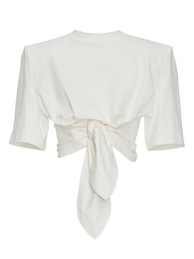 White Front-Tie Crop Top