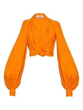 Silk Orange Cropped Blouse