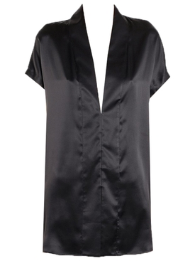 Black Silk V-Neck Blouse