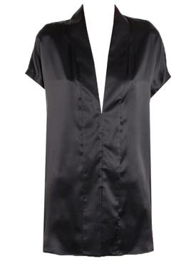 Black Silk V-Neck Blouse