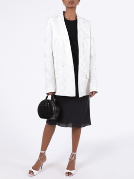 White single-breasted jacquard blazer