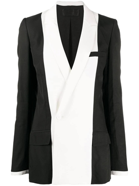 Black and white double-breasted blazer
