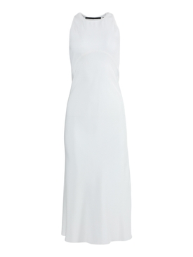 White silk mid-length dress