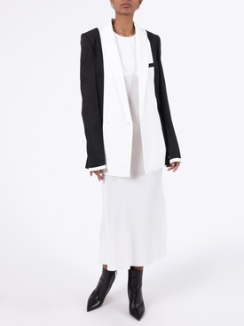 White silk mid-length dress