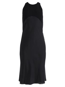 Black silk mid-length dress