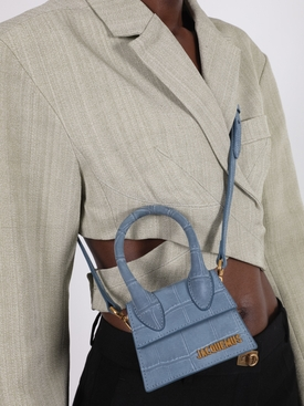 Blue Croc Embossed Le Chiquito Handbag