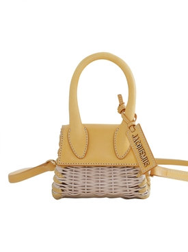 LE CHIQUITO WICKER TOP HANDLE BAG, YELLOW