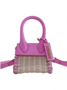 LE CHIQUITO WICKER TOP HANDLE BAG, PINK