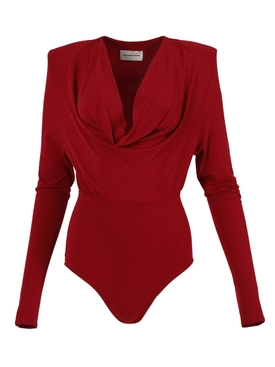 Red Draped bodysuit
