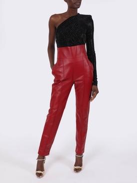 Black embellished one-shoulder bodysuit