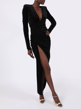 Black High slit long dress