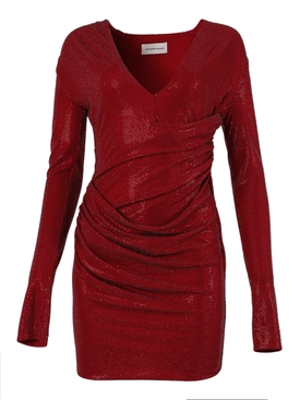 Lacquer red mini dress