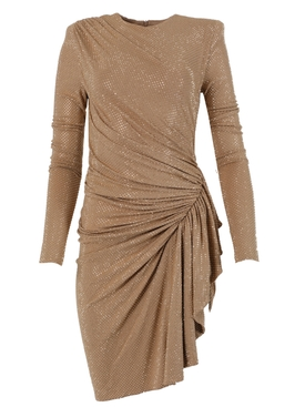 Beige embellished asymmetric dress