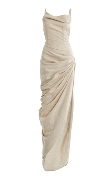 La Robe Saudade Gathered Linen Maxi Dress