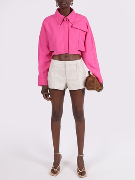 Pink Linen-Blend Cropped Top