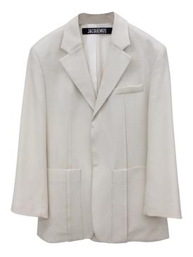 Ecru Wool-Blend Blazer