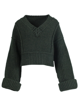 Dark green wool La Maille Cavaou knit sweater