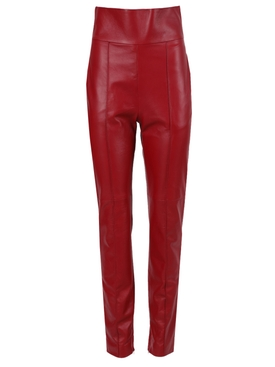 Red High Waist Leather Pants