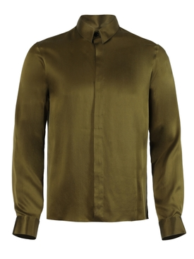 Olive green silk button-down shirt