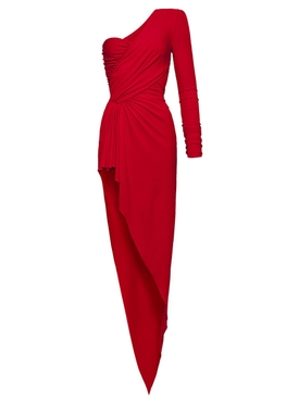 Poppy red one-shoulder dress