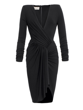 Black ruched v-neck dress