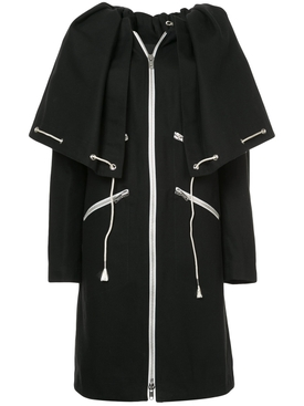 drawstring cape coat