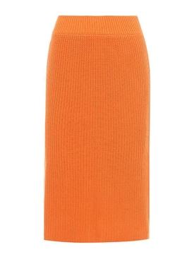 Knitted cotton skirt ORANGE