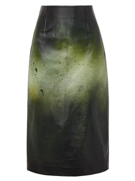 Printed glossed-leather midi skirt
