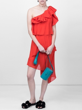 red one-shoulder dress