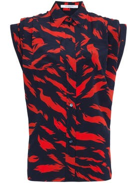 Givenchy - Silk Tiger Print Shirt Red - Women