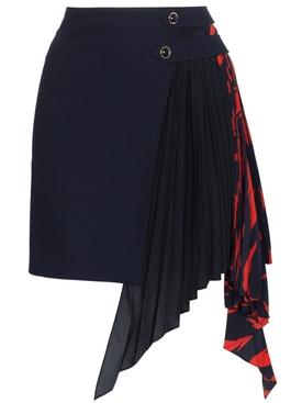 Pleated Godet Mini Skirt