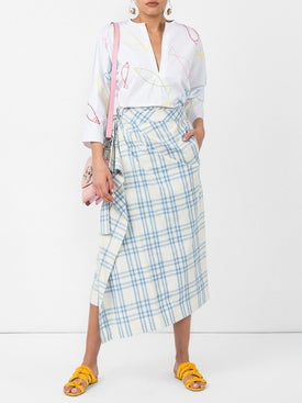 Rosie Assoulin - Draped Checked Skirt - Women