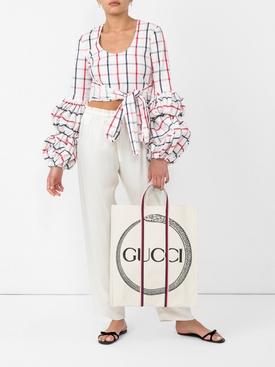 puff sleeve wrap blouse MULTICOLOR